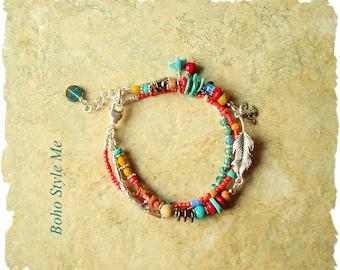 Boho Tribal Bracelet, Colorful Handmade Turquoise Bracelet, Bohemian Jewelry Bracelet, Boho Style Me, Kaye Kraus