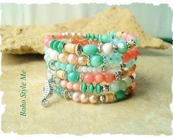 Boho Seahorse Bracelet, Bohemian Stack Bracelet, Natural Apatite, Boho Wedding, Boho Style Me, Kaye Kraus