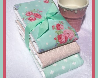 Fast Shipping Burping Cloth Set in Mint and Blush Pink Baby Burp Cloth Girl Gift Set of 3 full size cloth diaper burping rags