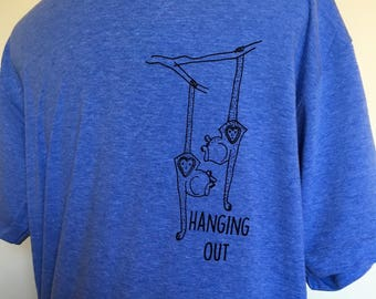 Funny Tshirt- MONKEYS Hanging Out, Vintage Blue in Sizes XS to XXL, Perfect Gift for Him