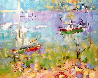 Seashore beach day on Old Cape Cod  expressive painting 12 x 16  inch painting ready to hang on paper on stretched canvas