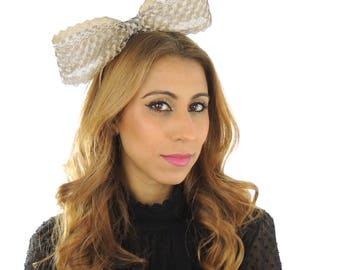 Mini Gold  Bow Fascinator Ascot Kentucky Derby Proms **SAMPLE SALE**
