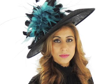 Elegant Black Hat with Black/Jade Feathers Fascinator Ascot Kentucky Derby Proms **SAMPLE SALE**