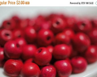 SUMMER CLEARANCE Deep Pinkish Red Fuschia Rosary Wood Beads - 6mm - 100