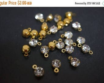 SUMMER SALE Tiny 18K Gold Plated Clear Crystal Round Pendants  - 4.5mm - 25 pcs
