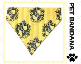 Hufflepuff House Crest Pet Bandana - Over-the-Collar - Custom - Scarf, Harry Potter