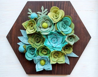 Hexagon Garden | Felt Succulents | Home Decor