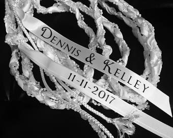 "Binding of the Hands - handfasting ceremony - ""Tying the Knot"" braided White roping for Wedding Ceremony - personalized with names"