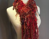 Red Rust artistic fiber knit scarf, 'Dirty Red', Fringe Scarf, 'Dumpster Diva', Hand knit, Fall scarves, funky scarf, short scarves