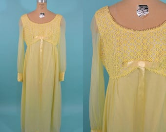 1960s maxi dress | AS IS yellow sheer sleeve maxi dress | vintage 60s maxi | W 28""