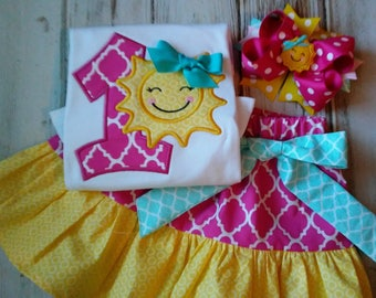 Ready To Ship First Birthday Outfit, Sunshine Birthday Shirt, Birthday Skirt, I'm One Birthday Outfit, Pink Yellow and Aqua Birthday