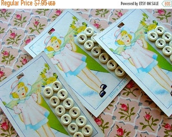 ON SALE One Vintage Kitsch Adorable Antique Button Card