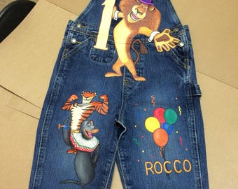 Disney clothing Birthday Overalls choose any 3 Characters with number name from any of my listings sz 24/2T to 5T