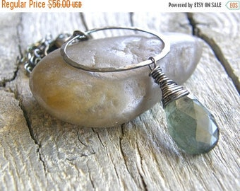 Summer Sale 20% Off Extra Long Moss Aquamarine Pendant Necklace, Hammered Sterling Silver Circle Pendant