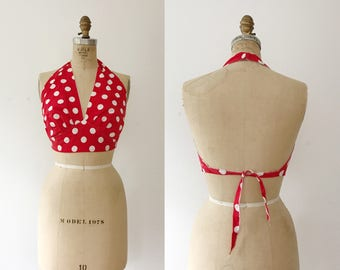 vintage halter / polka dot blouse / 70s cotton halter