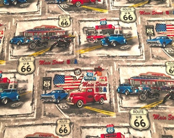 Route 66 Patch Cotton Fabric by the yard and by the half yard