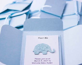 Elephant Baby Shower Favors - Personalized Plantable Seed Paper Elephant Cards,  Baby Blue, Pink, Yellow, Green - Handmade by Nature Favors