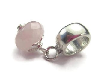 Rose Quartz Dangle for European Bracelet Sterling Silver Pink Gemstone January Birthstone