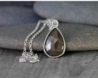 Summer Sale Rose Cut Sapphire Necklace, 8.1ct Sapphire Necklace, April Birthstone Handmade In The UK