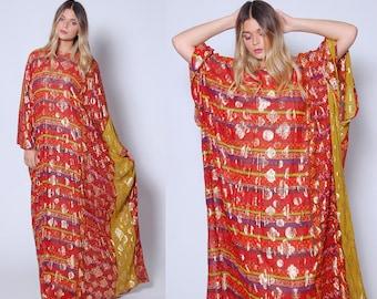 Vintage 60s SILK Caftan ORANGE Draped Metallic Maxi Dress MARITA by Anthony Muto Dress Joseph Magnin Dress Boho Gypsy Dress