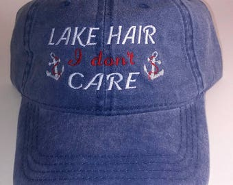 Lake Hair don't Care- Ladies Embroidered Soft Style Hat