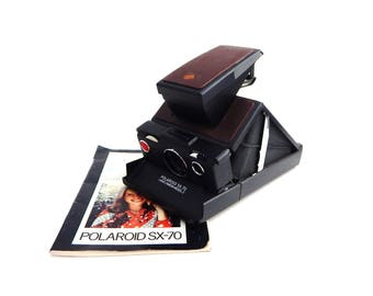 Polaroid SX 70 Model 2 Vintage Brown Black Land Camera TESTED With Manual Collapsible  Folding Case Instant Film Development