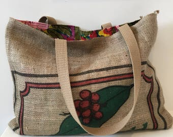 Green World Coffee Sack Tote/ Burlap Bag/ Market Bag