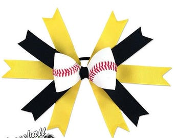 25% OFF SALE: Baseball Hair Bow - Yellow Black
