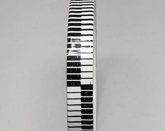 Black and White Hand Made Porcelain Abstract Bangle Vintage  Bracelet piano key like