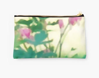 Flowers Pouch, Pink and Green Floral Zippered Clutch, Bridesmaid Gift, Travel, Jewelry, Makeup Case, Soft Focus Contemporary