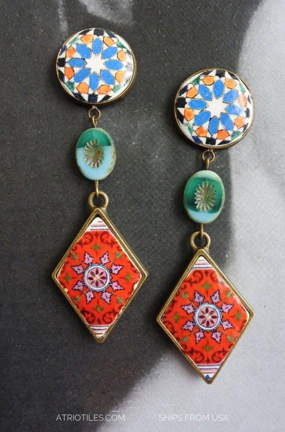 Earrings Portugal 16th Century Hispano-Arab Azulejo Arista Tile Monastery Santa Clara Coimbra 1314 Zellige Sintra  and Red Tiles Czech Glass
