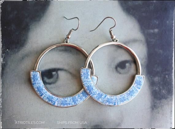 Earrings Portugal Hoops Tiles Blue Azulejos  Antique  - University of Évora founded in 1559 - Majolica bridal