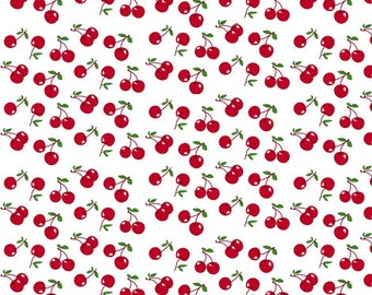 Dollhouse Miniature Small Scale Computer Printed Fabric Cherries
