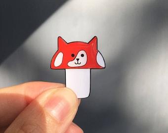 Meowshroom enamel pin, mushroom cat pin , cat pin, mushroom pin, mushroom kitty pin, soft enamel pin, lapel pin badge, pin, HibouDesigns