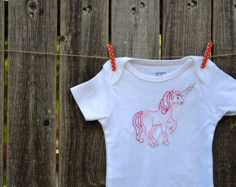 Unicorn Baby Bodysuit Hand Embroidered