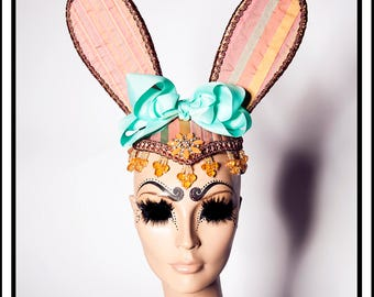 Easter Bunny.... Pink Striped Bunny Rabbit Ears with Mint and Yellow Accents, Beads and Giant Bow Fascinator Headdresss Costume Animal