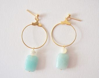 Amazonite & Mother of Pearl Earrings with Plated Metal Hoop in Gold, Clip On/Hooks/Studs, Talisman, Amulet, Good Luck Charm, Hope