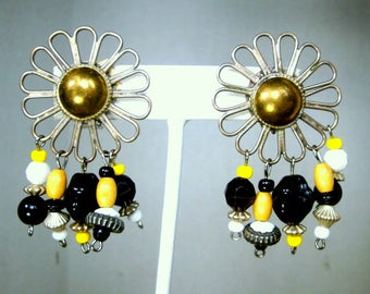 Wire Flower Clips w Beaded Dangle Earrings,   1980s Black White Yellow and Silver