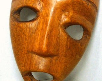 Vintage African Wood Mask, 1980s, Tribal Art, Small Hand Carved Spirit Face, Right Off My Wall