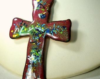 Christian Cross Pendant on Gold Chain, 1960s Mod Handmade Enamel on COPPER, Mid Century Colorful, OOAK