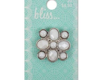 Large Bliss White Jewel Button