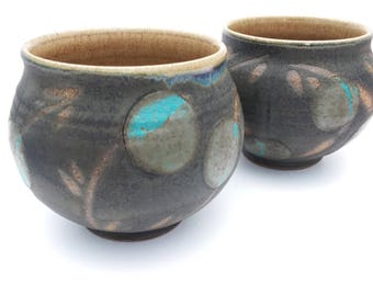 Pair of Lovely Handmade Pottery Teabowls in Charcoal and Turquoise