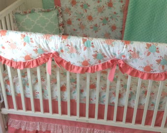 Baby Bedding Sparkle Gold Coral Aqua Mint Floral and Lace Baby Girl Crib Set Ships Fast