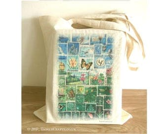 Happy Valley Tote Bag - Postage Stamp Print Eco Shopper with Long Handles