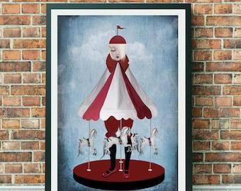 Carousel Art Print | Pop Surrealism Art | A3 Art Print  | Pop Surrealism | Merry Go Round Art Print | Carousel