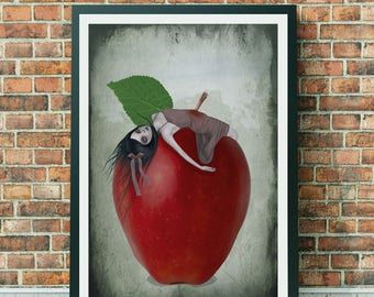 A3 Art Print - Large Print - Fairytale Art Print - Snow White - Death By Apple