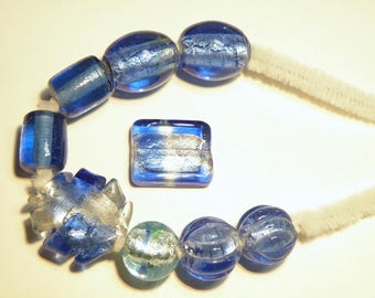 DESTASH - Assorted Sapphire Blue Glass Beads with Silver Foil