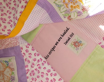 Bible Verse on soft quilt