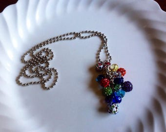 Rainbow Rhinestone Long Beaded Cluster Necklace