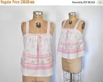 SALE Pink Babydoll Top Lace Floral Tank Shirt / M-L